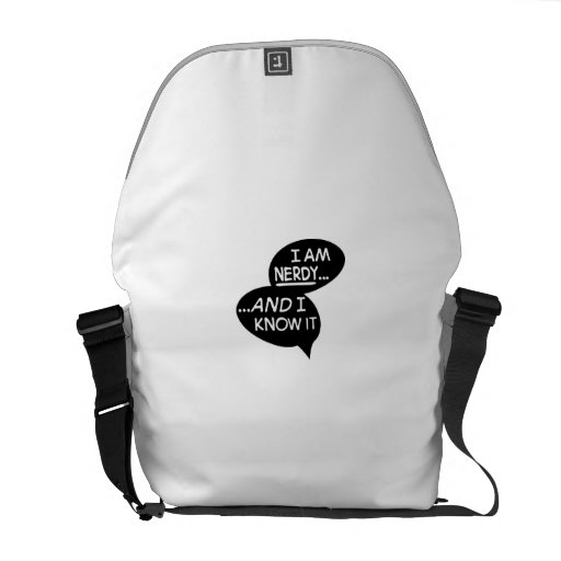 i at nerdy and the i know it messenger bag