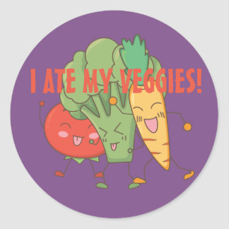 I Ate My Veggies Tomato Broccoli Carrot Purple Classic Round Sticker