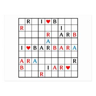 I♥BARBARA POSTCARD