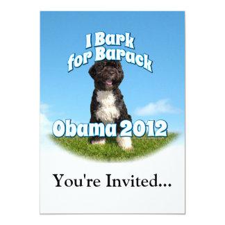 I Bark for Barack, Bo the First Dog Obama 5x7 Paper Invitation Card