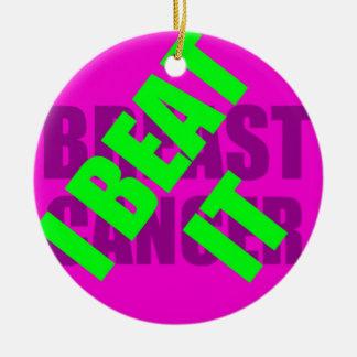 I Beat Breast Cancer Round Ceramic Decoration