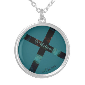 I Believe Always Aque Southwestern Cross Silver Plated Necklace