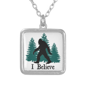 I Believe Bigfoot Silver Plated Necklace