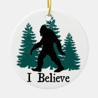 I Believe Bigfoot & Trees Ceramic Ornament