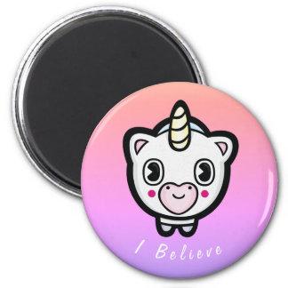I Believe Emoji Unicorn Ombre Magent Magnet