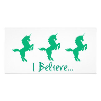 I Believe Green Unicorn Design Photo Card