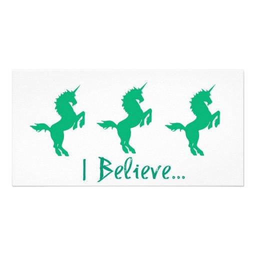I Believe Green Unicorn Design Photo Greeting Card