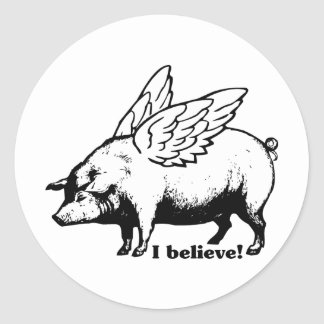 I Believe - If Pigs Could Fly Round Stickers