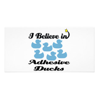 i believe in adhesive ducks personalised photo card
