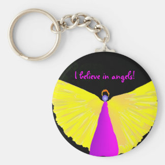 I Believe in Angels! Basic Round Button Key Ring