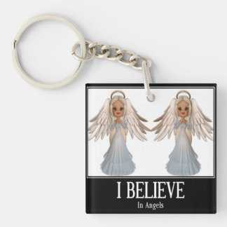 I believe in angels Double-Sided square acrylic key ring
