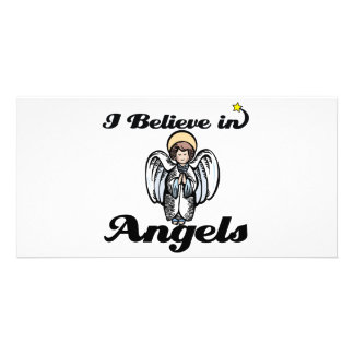 i believe in angels personalized photo card