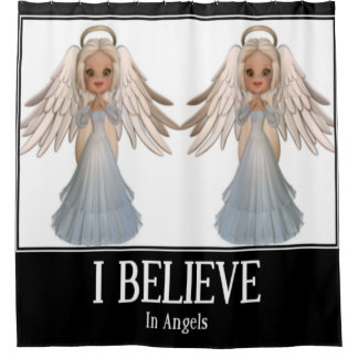 I believe in angels shower curtain