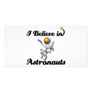 i believe in astronauts personalised photo card