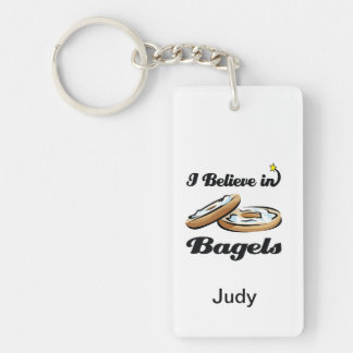 i believe in bagels Double-Sided rectangular acrylic key ring