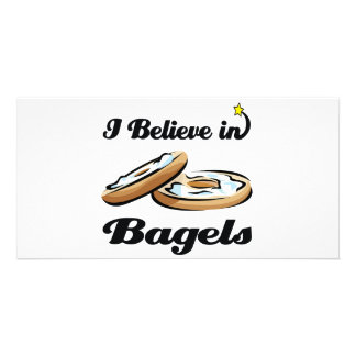 i believe in bagels photo card