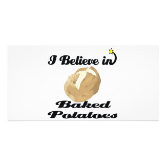 i believe in baked potatoes personalised photo card