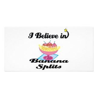 i believe in banana splits personalised photo card