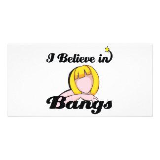 i believe in bangs custom photo card