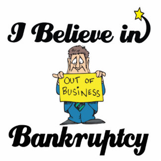 i believe in bankruptcy standing photo sculpture