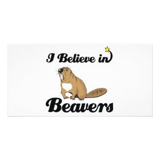 i believe in beavers photo greeting card