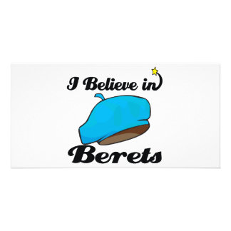 i believe in berets personalized photo card