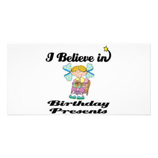 i believe in birhtday presents personalized photo card