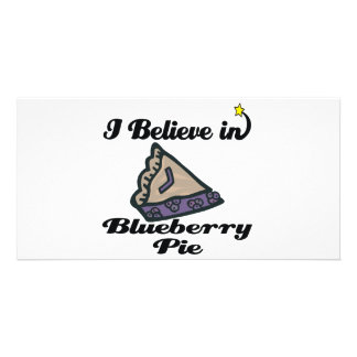 i believe in blueberry pie personalised photo card