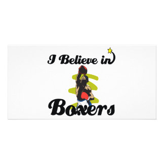 i believe in boxers personalized photo card