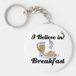 i believe in breakfast key ring