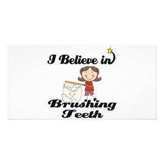 i believe in brushing teeth customised photo card