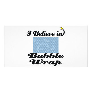 i believe in bubble wrap personalized photo card