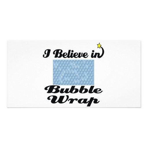 i believe in bubble wrap photo card