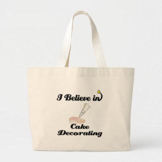 i believe in cake decorating jumbo tote bag