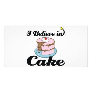 i believe in cake customized photo card