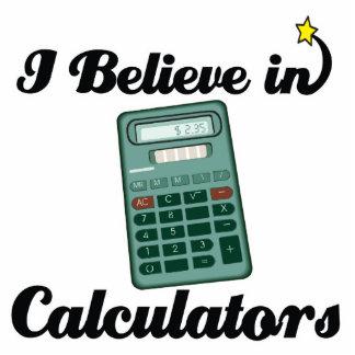i believe in calculators standing photo sculpture