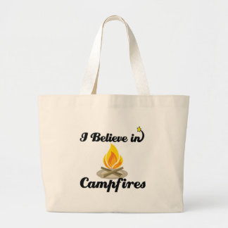 i believe in campfires large tote bag