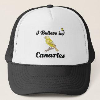 i believe in canaries trucker hat