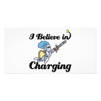i believe in charging photo greeting card