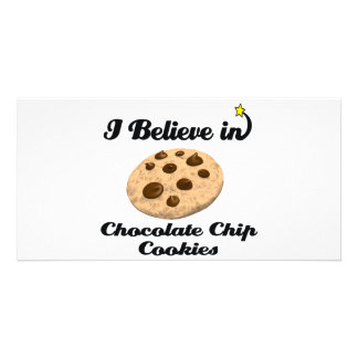 i believe in chocolate chip cookies personalised photo card