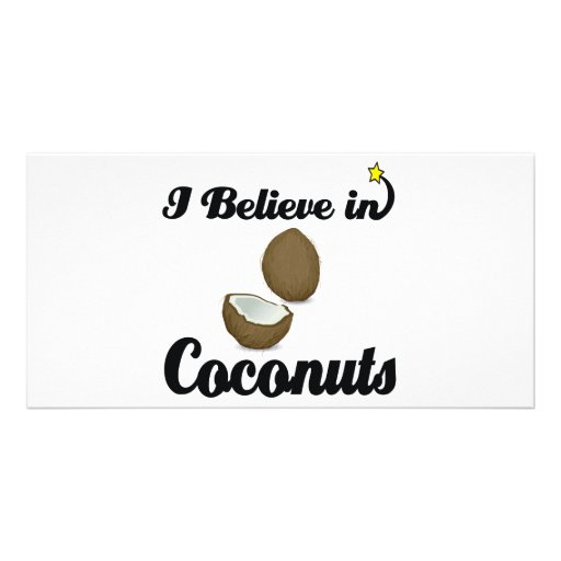 i believe in coconuts customized photo card