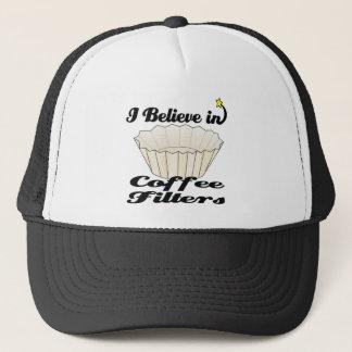i believe in coffee filters trucker hat