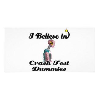 i believe in crash test dummies photo greeting card