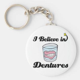 i believe in dentures basic round button key ring