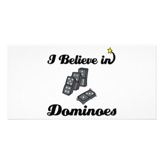 i believe in dominoes customised photo card