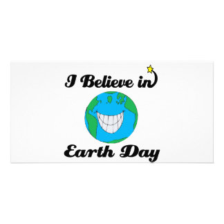 i believe in earth day customized photo card