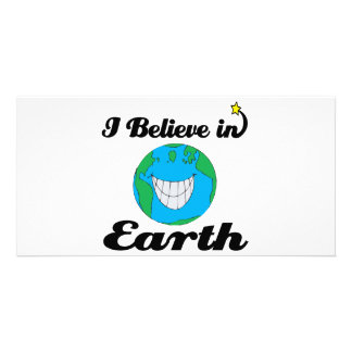 i believe in earth personalised photo card