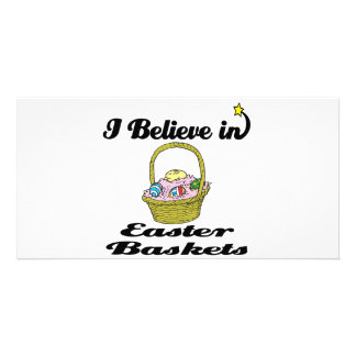 i believe in easter baskets personalized photo card