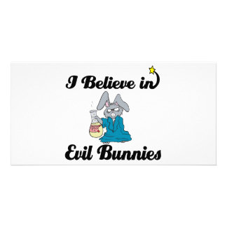i believe in evil bunnies photo greeting card