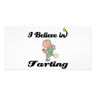 i believe in farting personalised photo card